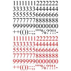 Betűk, számok - Számok és írásjelek - piros, fekete